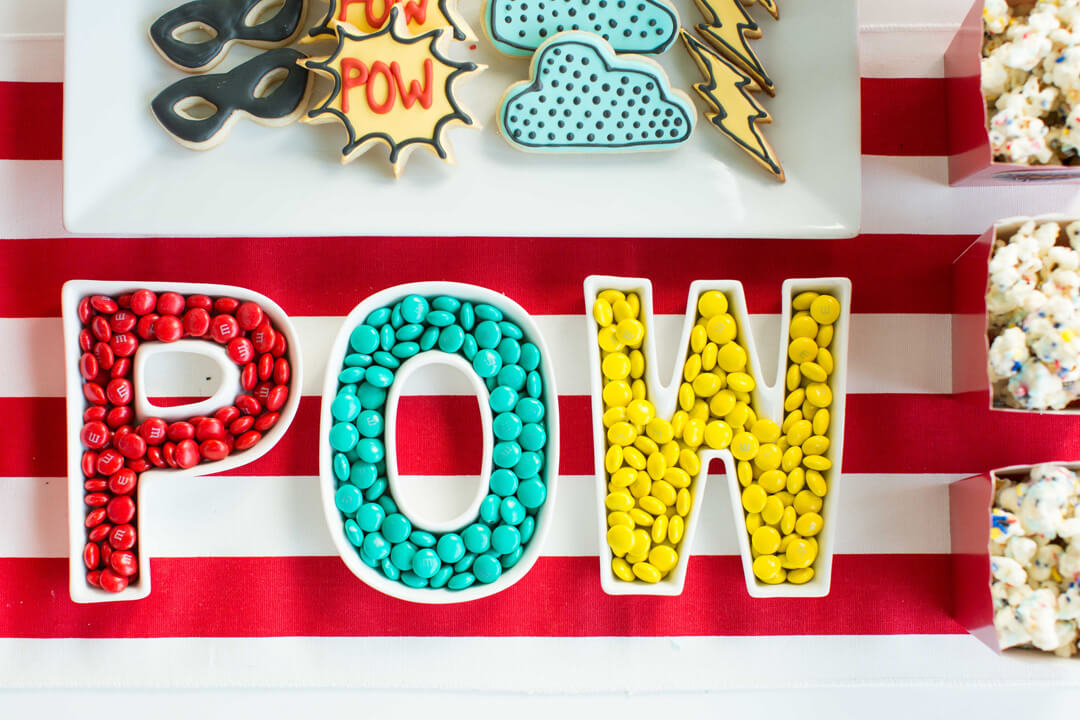 Letter Bowls with M&Ms from Superhero Party by Kiss Me Kate Studio | Black Twine