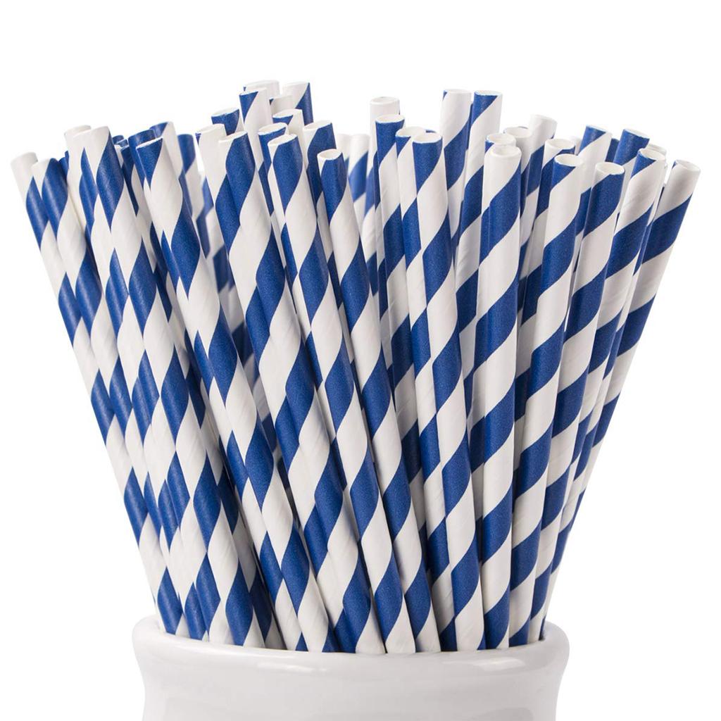 Blue & White Straws