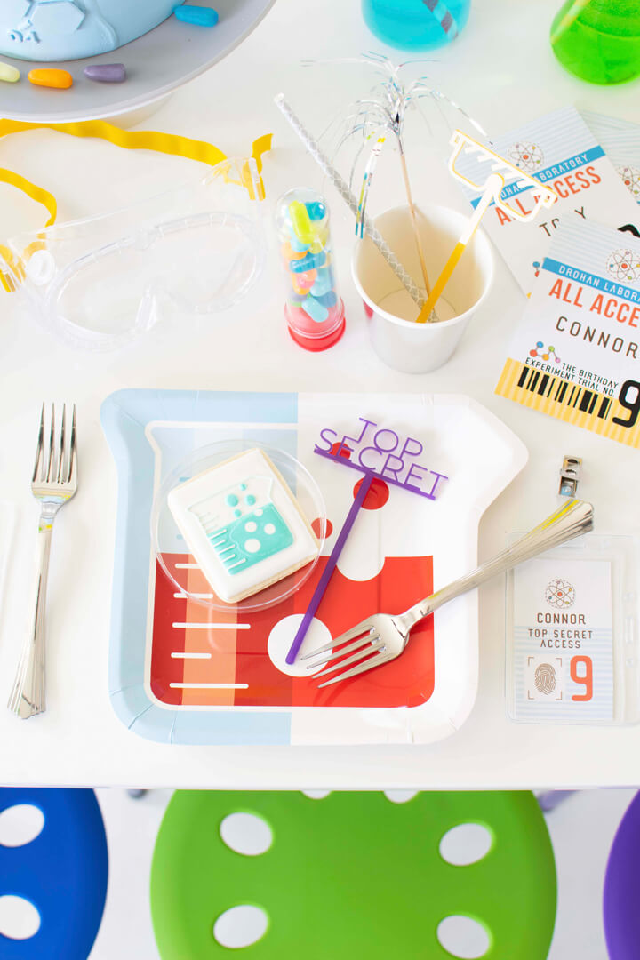 Place Setting With Beaker Plate from Mad Scientist Party In Collaboration with Twinkle Twinkle Little Party | Black Twine