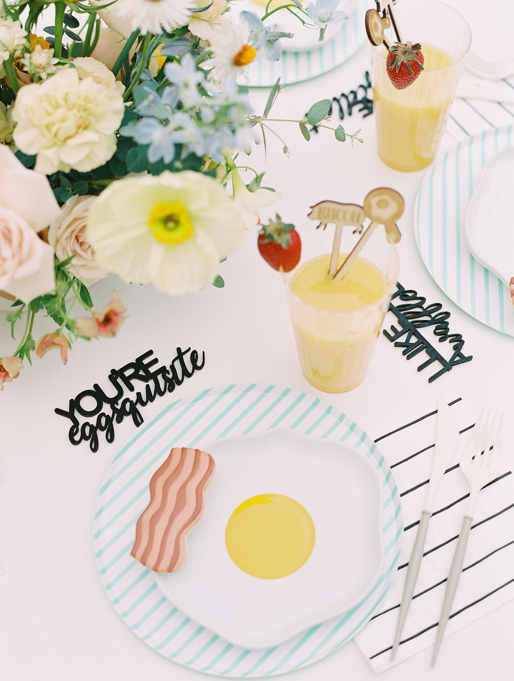 Place Setting from Kids Birthday Brunch Styled by Deets & Things | Black Twine