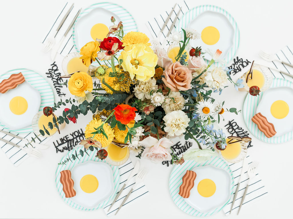 Place Setting with Floral Arrangement from Kids Birthday Brunch Styled by Deets & Things | Black Twine