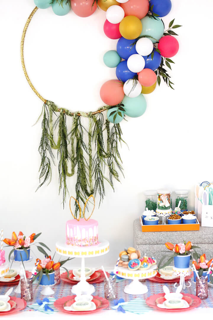 Place Setting with Garlands and Balloons Boho Bunny Easter Party by A Lovely Design | Black Twine