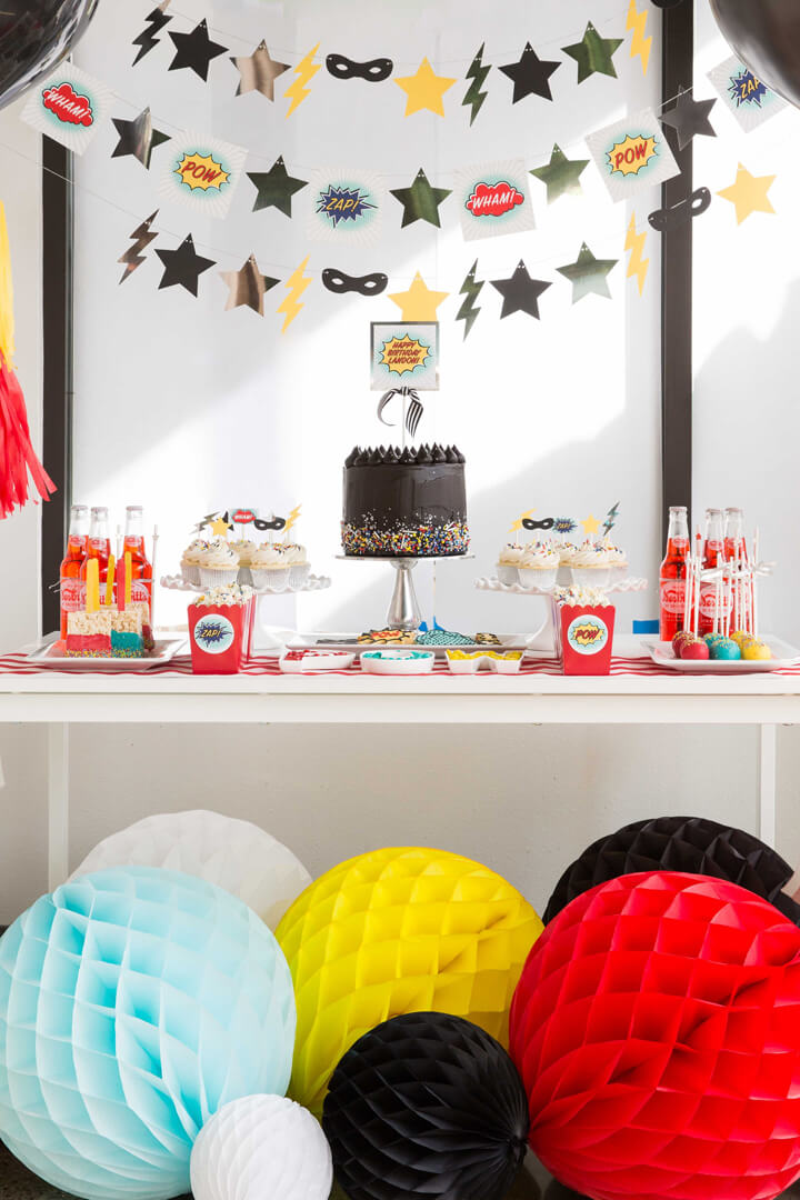 Place Setting with Honeycombs from Superhero Party by Kiss Me Kate Studio   Black Twine