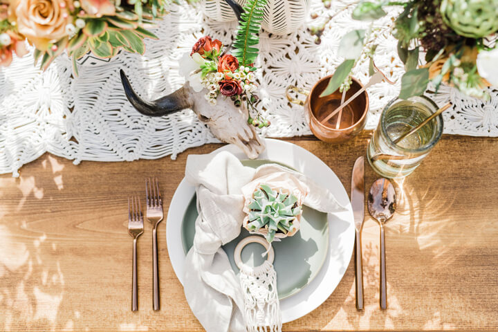 Place Setting with Steer Skull from Stay Wild, My Child Baby Shower by The Revelry Co | Black Twine