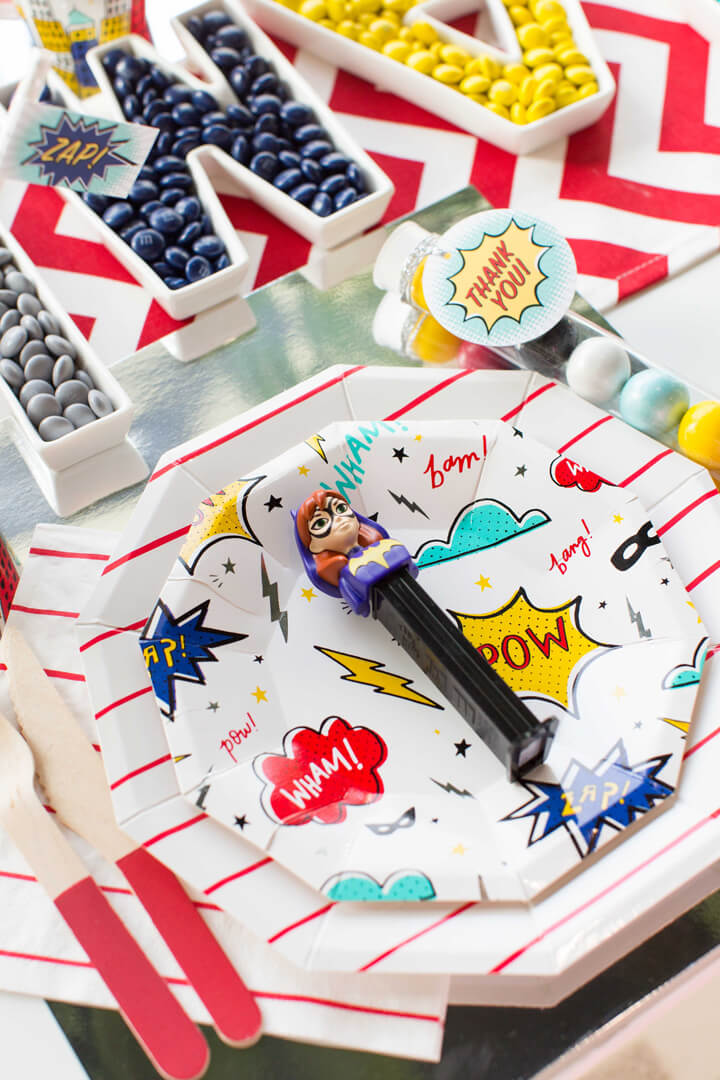 Plate Setting from Superhero Party by Kiss Me Kate Studio | Black Twine