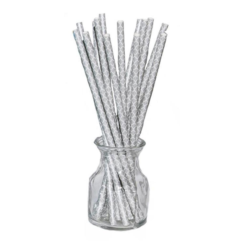 Silver Quatrefoil Straws