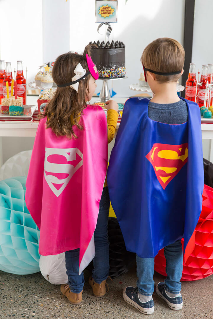 Superman Capes from Superhero Party by Kiss Me Kate Studio | Black Twine