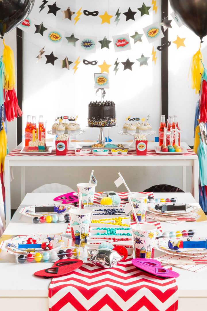 Tablescape from Superhero Party by Kiss Me Kate Studio | Black Twine
