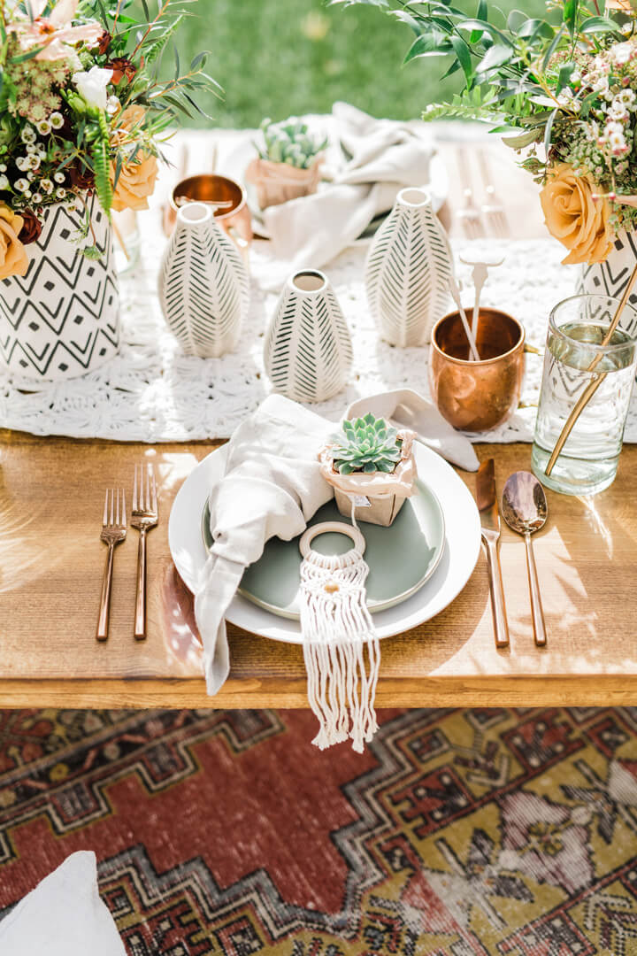 Tablescape from Stay Wild, My Child Baby Shower by The Revelry Co | Black Twine