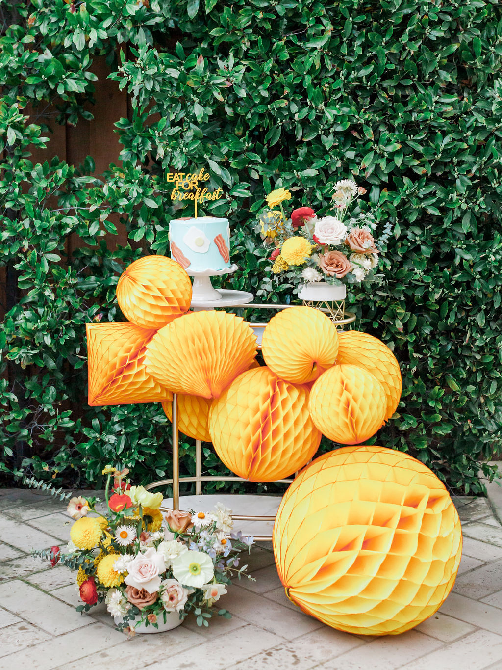 Yellow Honeycombs from Kids Birthday Brunch Styled by Deets & Things | Black Twine