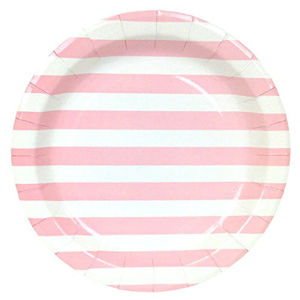 pink striped canape plates